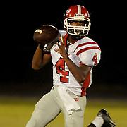 Jacksonville Quarterback Exelman Adams looks to throw.