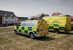 © Licensed to London News Pictures. 06/07/2018. Amesbury, UK. Ambulance vehicles arrive outside a property in Amesbury after a couple, named locally as Dawn Sturgess, 44, and her partner Charlie Rowley, 45, were taken ill on Saturday 30th June 2018. Police have confirmed that the couple have been in contact with Novichok nerve agent. Former Russian spy Sergei Skripal and his daughter Yulia were poisoned with Novichok nerve agent in nearby Salisbury in March 2018. Photo credit: Peter Macdiarmid/LNP