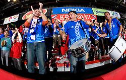 Krimovci, fans of Krim at handball match of Round 2 of Champions League between RK Krim Mercator and Aalborg DH, on October 31, 2009, in Arena Kodeljevo, Ljubljana, Slovenia.  Krim won 30:23. (Photo by Vid Ponikvar / Sportida)
