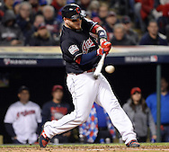 CLEVELAND, OH - OCTOBER 25: Roberto Perez #55 of the Cleveland Indians hits a solo home run in the fourth inning during Game 1 of the 2016 World Series against the Chicago Cubs at Progressive Field on Tuesday, October 25, 2016 in Cleveland, Ohio. (Photo by Ron Vesely/MLB Photos via Getty Images)