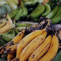 Americas, Caribbean, Antigua and Barbuda. Fresh bananas at the local market in St John's, Antigua.