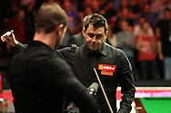 Ronnie O'Sullivan (Eng) gives the thumbs up to the crowd at the end of the match. Ronnie O'Sullivan (Eng) v Neil Robertson (Aus), Quarter-Final match at the Dafabet Masters Snooker 2017, at Alexandra Palace in London on Thursday 19th January 2017.<br /> pic by John Patrick Fletcher, Andrew Orchard sports photography.