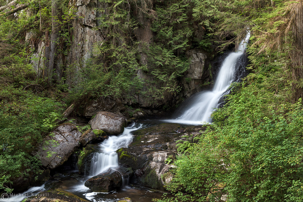 Upper portion of Steelhead Falls near the Reservoir Trail in the Hayward Lake Recreational Area in Mission, British Columbia, Canada