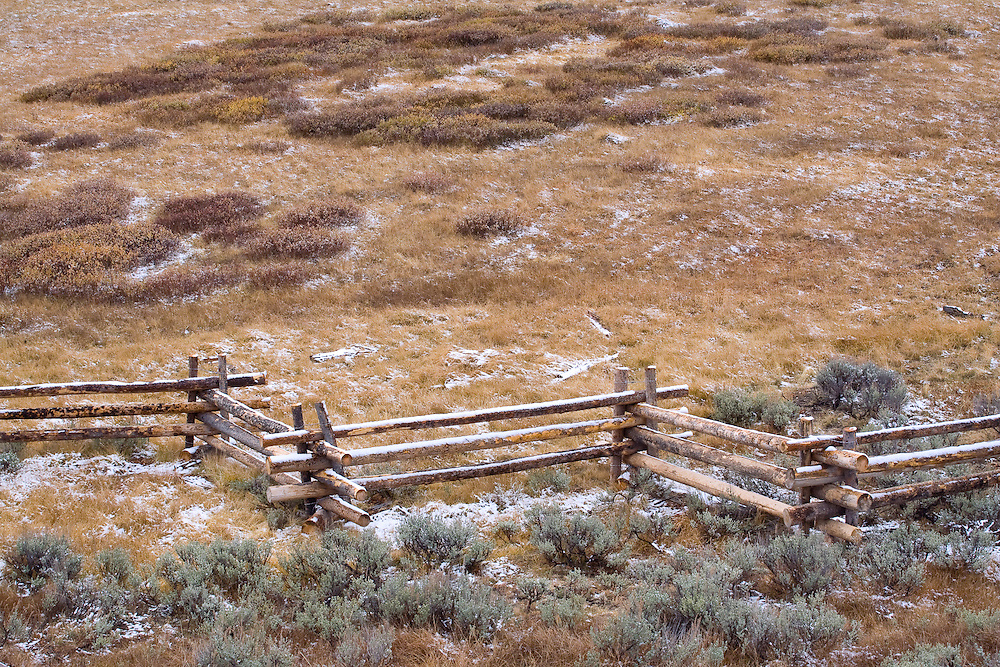 A sturdy log fence separates pastures in the Sawtooth NRA, Idaho.
