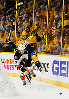 NASHVILLE, TN - MAY 22:  Sami Vatanen #45 of the Anaheim Ducks checks Colton Sissons #10 of the Nashville Predators during the first period in Game Six of the Western Conference Final during the 2017 Stanley Cup Playoffs at Bridgestone Arena on May 22, 2017 in Nashville, Tennessee.  (Photo by Frederick Breedon/Getty Images)
