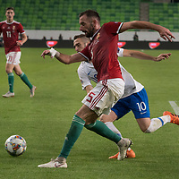 Attila Fiola (front) of Hungary and Kostas Fortounis of Greece fight for the ball during the UEFA Nations' League qualifying match between Hungary and Greece at the Groupama Arena stadium in Budapest, Hungary on Sept. 11, 2018. ATTILA VOLGYI