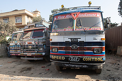 Typical Nepalese trucks in Kathmandu after our Himalayan Heroes motorcycling adventure, Nepal. Saturday, November 17, 2018. Photography ©2018 Michael Lichter.