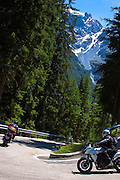 Motorcycles on The Stelvio Pass, Passo dello Stelvio, Stilfser Joch, route to Trafio in The Alps, Italy