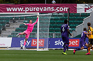Tranmere Rover's Goalkeeper Joe Murphy (13) saves  during the EFL Sky Bet League 2 match between Newport County and Tranmere Rovers at Rodney Parade, Newport, Wales on 17 October 2020.