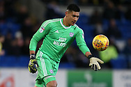 Neil Etheridge, the Cardiff city goalkeeper in action. EFL Skybet championship match, Cardiff city v Norwich city at the Cardiff city stadium in Cardiff, South Wales on Friday 1st December 2017.<br /> pic by Andrew Orchard, Andrew Orchard sports photography.