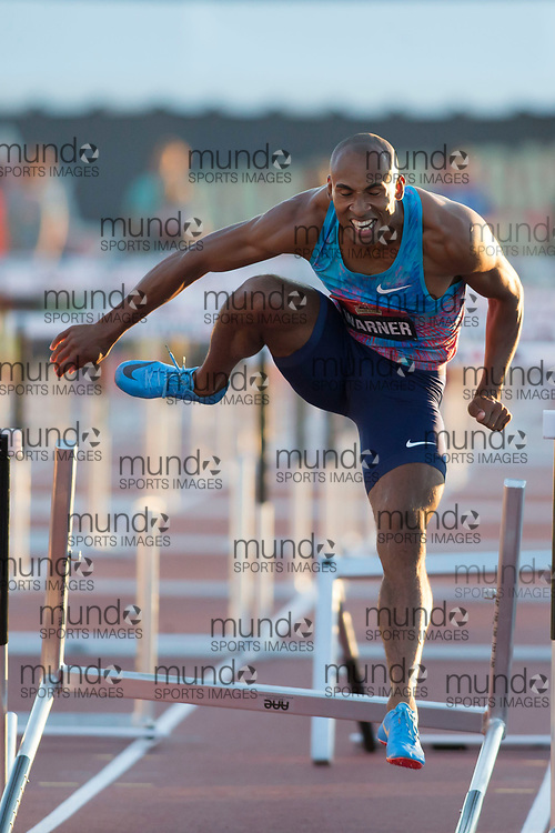 (Ottawa, Canada---08 July 2017) Damian Warner competing in the 110m hurdle final at the 2017 Canadian Track and Field Championships. (Photo by Sean W Burges / Mundo Sport Images).