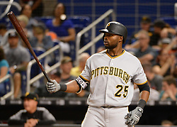 April 18, 2018 - Miami, FL, U.S. - MIAMI, FL - APRIL 13: Pittsburgh Pirates right fielder Gregory Polanco (25) at bat  during a Major League Baseball game between the Miami Marlins and the Pittsburgh Pirates on April 13, 2018  at Marlins Park in Miami, FL  (Photo by Juan Salas/Icon Sportswire) (Credit Image: © Juan Salas/Icon SMI via ZUMA Press)