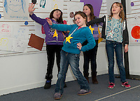 """Winni Playhouse participants Elizabeth Turner, Alyson Feeney, Jordan Poire and Eden Fuller present Dr Seuss' """"The Sneetches"""" to family and friends Friday morning at the conclusion of Theater Camp Week.  (Karen Bobotas/for the Laconia Daily Sun)"""