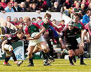 Leicester, Walker Stadium., Leicestershire, 5th April 2004, Heineken Cup, ENGLAND. [Mandatory Credit: Photo  Peter Spurrier/Intersport Images],Heineken Cup, Semi Final, Leicester Tigers vs Stade Toulouse, Walker Stadium, Leicester, ENGLAND: Lewis Moody, breaking with the ball.