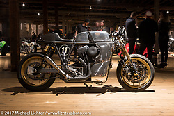 Ardent Motorcycles' Curtis Miller's custom 2016 Harley-Davidson raw metal cafe racer in the Mama Tried Bike Show. Milwaukee, WI, USA. Saturday, February 18, 2017. Photography ©2017 Michael Lichter.