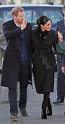 Prince Harry and Meghan Markle arrive at the Sttar Hub in Tremorfa, after visiting Cardiff Castle.