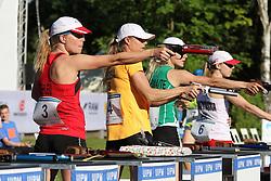 30.06.2015, Olympiapark Berlin, Berlin, GER, moderner Fünfkampf WM, Staffelbewerb Damen, im Bild Annika Schleu (TSV Spandau, li.) beim Schiessen im Combined // during Women's relay race of the the world championship of Modern Pentathlon at the Olympiapark Berlin in Berlin, Germany on 2015/06/30. EXPA Pictures © 2015, PhotoCredit: EXPA/ Eibner-Pressefoto/ Hundt<br /> <br /> *****ATTENTION - OUT of GER*****