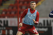 Aberdeen forward Ryan Edmondson (32) warming up during the Scottish Premiership match between Aberdeen and Hamilton Academical FC at Pittodrie Stadium, Aberdeen, Scotland on 20 October 2020.
