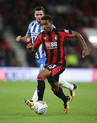 """AFC Bournemouth Jordon Ibe in action during the Carabao Cup, third round match at the Vitality Stadium, Bournemouth. PRESS ASSOCIATION Photo. Picture date: Tuesday September 19, 2017. See PA story SOCCER Bournemouth. Photo credit should read: Steven Paston/PA Wire. RESTRICTIONS: EDITORIAL USE ONLY No use with unauthorised audio, video, data, fixture lists, club/league logos or """"live"""" services. Online in-match use limited to 75 images, no video emulation. No use in betting, games or single club/league/player publications."""