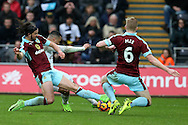 Martin Olsson of Swansea city © scores his teams 2nd goal to make it 2-2.   Premier league match, Swansea city v Burnley at the Liberty Stadium in Swansea, South Wales on Saturday 4th March 2017.<br /> pic by Andrew Orchard, Andrew Orchard sports photography.