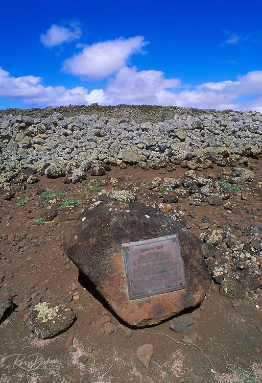 National Historic Landmark plaque at the Mookini Heiau (temple), birthplace of King Kamehameha, The Big Island, Hawaii