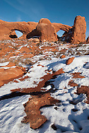 South Window Arch,   North Widow Arch, Arches National Park, Utah, winter.