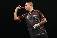 Nathan Aspinall during the Unibet Premier League darts at Motorpoint Arena, Cardiff, Wales on 20 February 2020.