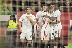 January 24, 2019 - Seville, Spain - WISSAN BEN YEDDER of Sevilla (L) celebrates after scoring 2-0 with a dedication to A. Sala during the King's Cup quarter-final first leg soccer match between Sevilla FC and FC Barcelona at Sanchez Pizjuan Stadium (Credit Image: © Daniel Gonzalez Acuna/ZUMA Wire)