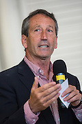 Former Republican Governor Mark Sanford addresses a crowd during the Charleston Area Chamber of Commerce's Pork and Politics on April 30, 2013 in Charleston, South Carolina.