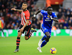 Southampton's Ryan Bertrand (left) and Cardiff City's Oumar Niasse battle for the ball during the Premier League match at St Mary's Stadium, Southampton.