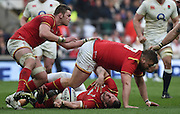 Twickenham. Great Britain.<br /> Injured, Sam WARBUTON lays prone on the pitch.<br /> RBS Six Nations Rugby, England vs Wales at the RFU Twickenham Stadium. England.<br /> <br /> Saturday  12/03/2016 <br /> <br /> [Mandatory Credit; Peter Spurrier/Intersport-images]