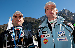 Franci Petek  and Matjaz Zupan, head coach of Slovenia after the Flying Hill Individual at 4th day of FIS Ski Jumping World Cup Finals Planica 2011, on March 20, 2011, Planica, Slovenia. (Photo by Vid Ponikvar / Sportida)