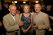 """19/7/2011. Michael Cudddy GDSI, MAry Regan Ulster BAnk and Seamus Cuddy, Salthill in McSwiggans for the pre show reception of Propellors """"Comedy of Errors"""" by Shakspeare in the Galway Arts Festival, sponsored by Ulster Bank. Photo:Andrew Downes"""