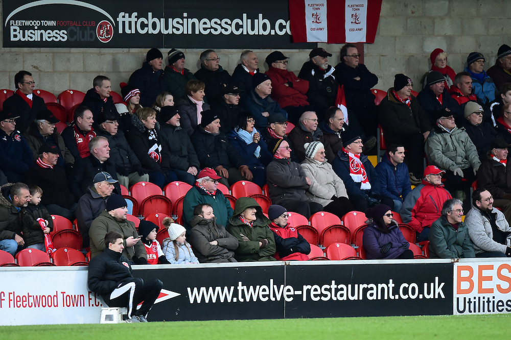 Fleetwood fans look on<br /> <br /> Photographer Richard Martin-Roberts/CameraSport<br /> <br /> The EFL Sky Bet Championship - Fleetwood Town v Bristol Rovers - Saturday 14th January 2017 - Highbury Stadium - Fleetwood<br /> <br /> World Copyright © 2017 CameraSport. All rights reserved. 43 Linden Ave. Countesthorpe. Leicester. England. LE8 5PG - Tel: +44 (0) 116 277 4147 - admin@camerasport.com - www.camerasport.com