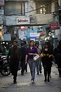A group of fashionable young women walk through Khan Market, New Delhi<br /> Khan Market It is one of the most expensive retail streets anywhere in the world frequented mostly by the rich and foreigners