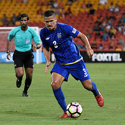 BRISBANE, AUSTRALIA - JANUARY 31: Matthew Hartmann of Global FC dribbles the ball during the second qualifying round of the Asian Champions League match between the Brisbane Roar and Global FC at Suncorp Stadium on January 31, 2017 in Brisbane, Australia. (Photo by Patrick Kearney/Brisbane Roar)