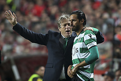 January 3, 2018 - Lisbon, Portugal - Sporting's coach Jorge Jesus gives instructions to Sporting's forward Bryan Ruiz during the Portuguese League  football match between SL Benfica and Sporting CP at Luz  Stadium in Lisbon on January 3, 2018. (Credit Image: © Carlos Costa/NurPhoto via ZUMA Press)