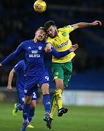 Danny Ward of Cardiff city (l) challenges Grant Hanley of Norwich city ®.EFL Skybet championship match, Cardiff city v Norwich city at the Cardiff city stadium in Cardiff, South Wales on Friday 1st December 2017.<br /> pic by Andrew Orchard, Andrew Orchard sports photography.