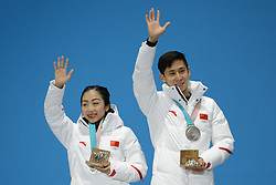 February 15, 2018 - Pyeongchang, South Korea - WENJING SUI and CONG HAN of China with their silver medals from the Pair Skating Free Skating event in the PyeongChang Olympic games. (Credit Image: © Christopher Levy via ZUMA Wire)