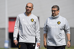 May 23, 2018 - Tubize, Belgique - TUBIZE, BELGIUM - MAY 23 : Roberto Martinez head coach of Belgian Team, Mousa El Habchi ass. video analyst of Belgian Team pictured during a training session of the Red Devils at the national training center before a friendly game against Portugal on May 23, 2018 in Tubize, Belgium, 23/05/2018 (Credit Image: © Panoramic via ZUMA Press)