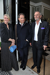 Left to right, LAURA LOPES, VISCOUNT LINLEY and MARK SHAND at a party to celebrate the 60th birthday of Mark Shand and the 50th birthday of Tara the elephant held at 29 Portland Place, London on 25th May 2011.