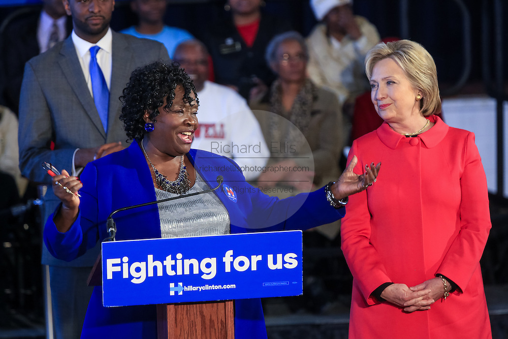 """Bamberg County Schools Superintendent Thelma Sojourner introduces Democratic presidential candidate Hillary Rodham Clinton during a """"Corridor of Opportunity"""" Town Hall meeting at Denmark-Olar Elementary School February 12, 2016 in Denmark, South Carolina, USA. The event highlighted the disparities facing poor black families and rural poor in South Carolina."""