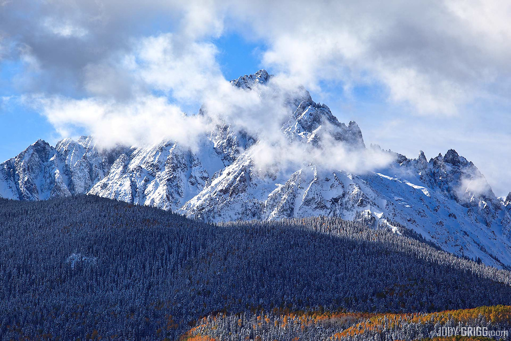 Clouds briefly begin to clear around Mount Sneffels 14,150ft.