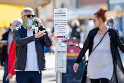 THEMENBILD - In Österreich gelten aufgrund der Covid-19-Pandemie Ausgangsbeschränkungen, Betretungsverbote und andere Regelungen, die in das Alltagsleben eingreifen. Hier im Bild Desinfektion am Eingang zum Stadtmarkt Lienz am Samstag 11. April 2019 // In Austria, due to the Covid 19 pandemic, exit restrictions, entry bans and other regulations that affect everyday life apply. Here in the picture: city market. Lienz on Saturday April 11, 2019. EXPA Pictures © 2020, PhotoCredit: EXPA/ Johann Groder