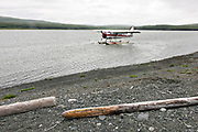 A de Havilland DHC-3 Otter seaplane prepares to depart remote McNeil River Game Sanctuary after dropping off campers in the Katmai Peninsula, Alaska. The float plane is the only way in and out of the remote location known for the highest concentration of brown bears in the world.