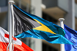 The flag of the Bahamas on a pole at the Commonwealth Games