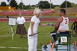 British Open Athletics Championships 2003 games; disabled athlete taking part in a Discus event,