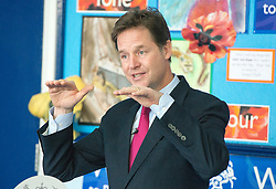 © Licensed to London News Pictures. 22/10/2014. London, UK Deputy Prime Minister Nick Clegg visits a school, Bellville Primary in Clapham, in London on Wednesday 22 October to address an audience of public sector workers - including teachers, social workers, local government and NHS staff, Civil Service apprentices & Fast Streamers. He gave a speech about the public sector as a whole and in it, thanked public sector workers for their hard work through challenging financial times. Photo credit : Stephen Simpson/LNP