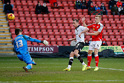 Aaron Wilbraham of Bristol City shoots past Ben Garratt of Crewe Alexandra but it comes off the upright - Photo mandatory by-line: Rogan Thomson/JMP - 07966 386802 - 20/12/2014 - SPORT - FOOTBALL - Crewe, England - Alexandra Stadium - Crewe Alexandra v Bristol City - Sky Bet League 1.