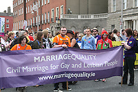 Marriage Equality group at the Dublin Pride 2012 LGBTQ festival parade Dublin City. Saturday 30th June 2012.